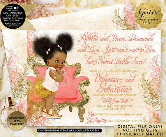 Coral/ Peach Ivory and Gold Baby Shower Invitation/ Afro Puffs Baby Girl/ Diamonds Pearls/ Printable JPG + PDF | By Gvites