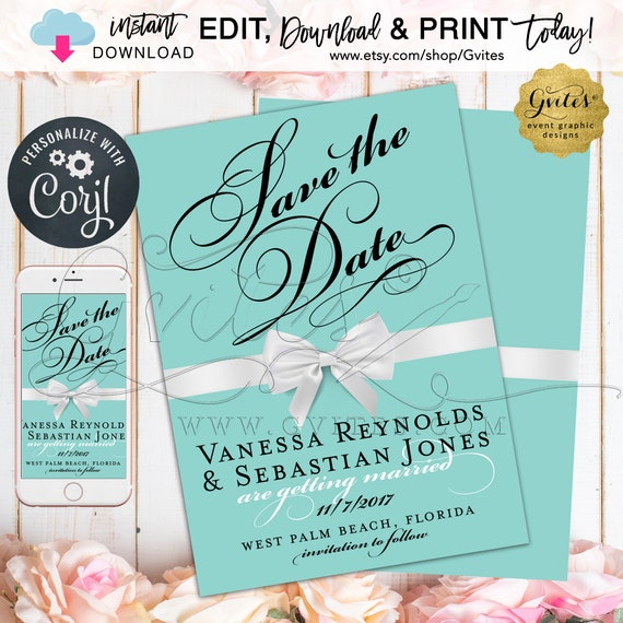 Save The Date Card | Turquoise/Teal/ Blue White Bow. Elegant Wedding/Bridal Design 5x7 Double Sided. {INSTANT DOWNLOAD} Edit with Corjl