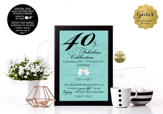 40 and Fabulous Birthday Sign, Table Decorations, 50th, 60th Adult Party Decor. Customizable Colors, Fonts, Audrey Quote. 4x6, 5x7 & 8x10.