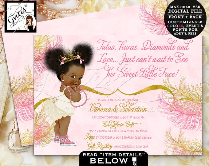 Pink and Gold baby shower invitations, Princess Tiara African American, Tutus Tiaras diamonds pearls, 7x5 double sided. Afro Puffs. Gvites