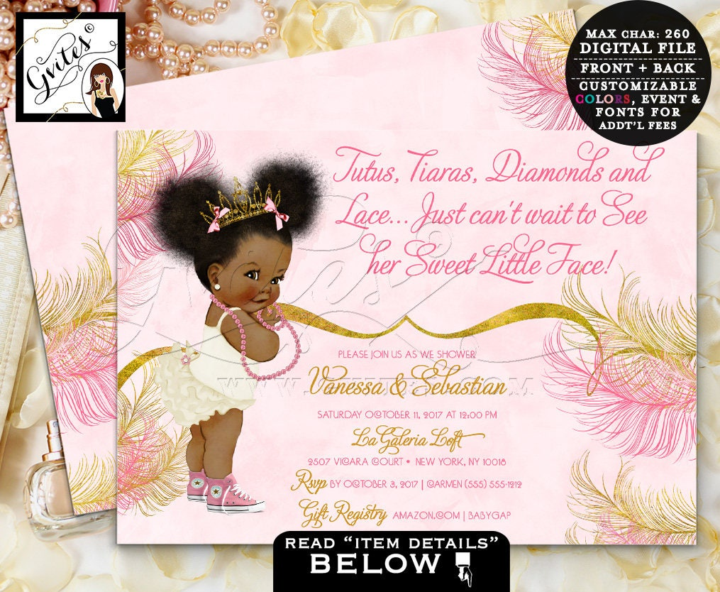 Pink And Gold Baby Shower Invitations Princess Tiara African