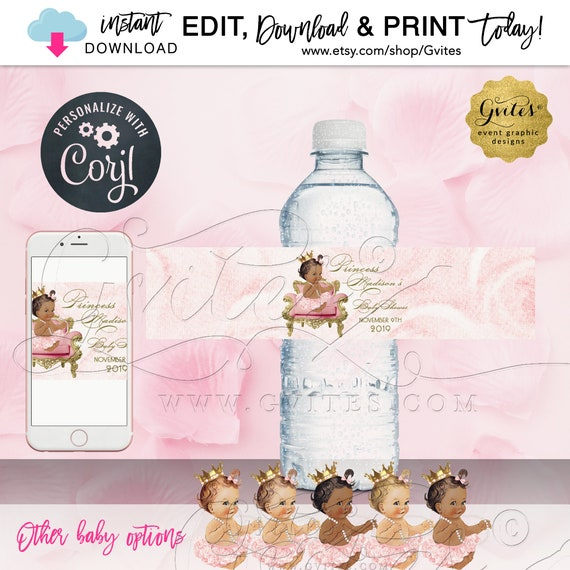 Princess Theme Water Bottle Labels. Editable Template. Different Baby Options Available | Instant Download | Edit w/Corjl