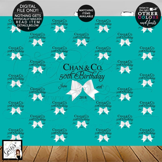 50th Birthday Step and Repeat Backdrops, breakfast turquoise and white, birthday and co backdrops for pictures, photo booth banner signs.