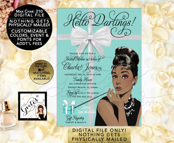 Audrey Hepburn African American Bridal Shower Printable Invitation/ Breakfast at/ Bride and Co Blue Themed/ 5x7/ Digital File Gvites