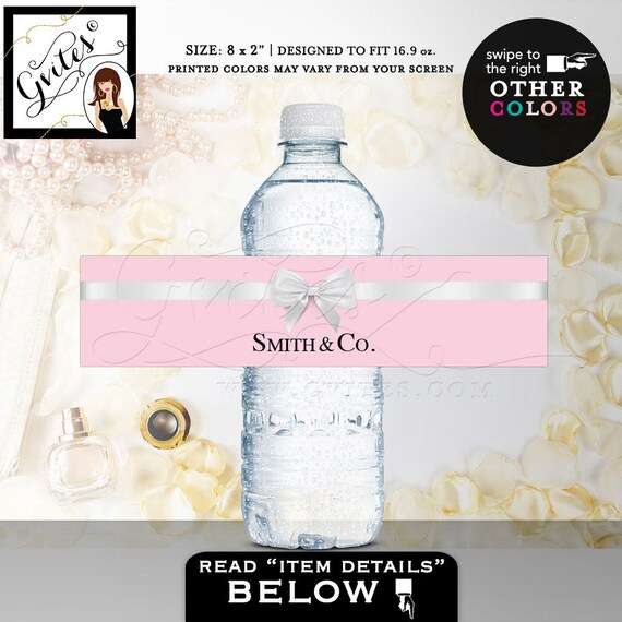 "Name & Co Water Bottle Labels/ bridal shower/ Birthday Labels Stickers breakfast at {REALISTIC SATIN RIBBON} 8x2""/ 5 Per Sheet. Digital File"