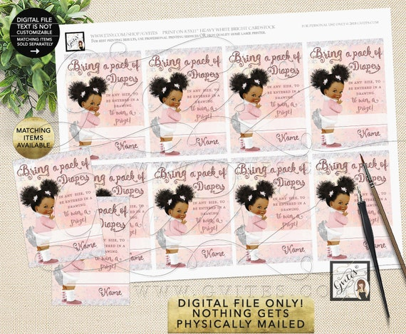 """Diaper Raffle Tickets Printable Winter Wonderland/ it's Cold Outside. 2.5x3.5"""" 8 Per Sheet {Afro Puffs Curly/ INSTANT DOWNLOAD}"""