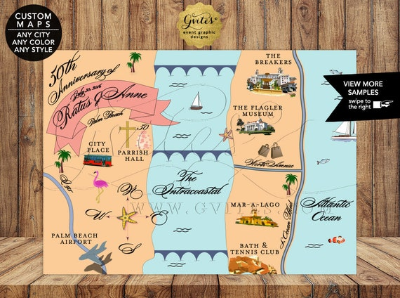 50th Anniversary Map Personalized The Breakers Palm Beach Florida Custom Maps for ANY occasion - Custom Map ANY CITY