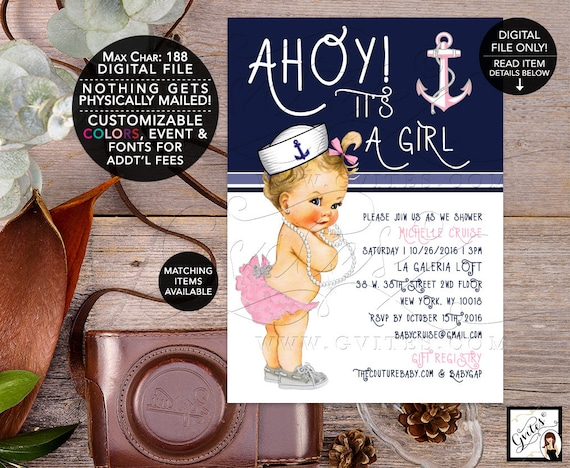 Nautical Baby Shower Printable Invites/ Pink Silver and Navy Blue/ Ahoy its a girl/ vintage/ digital/ 5x7/ Gvites