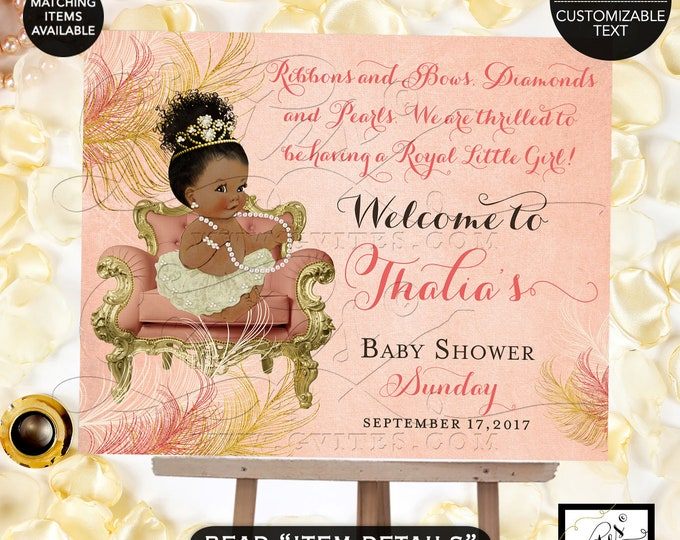 Coral and Gold Welcome Sign Baby Shower, African American Princess shower, ribbons bows diamonds and pearls, decor, DIGITAL DIY.