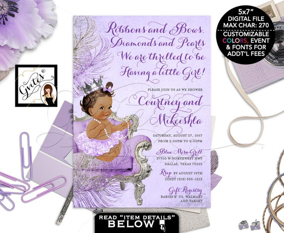 Lavender and Silver baby shower invitation, princess african american baby girl, purple invites Silver Crown, DIGITAL 5x7 Gvites