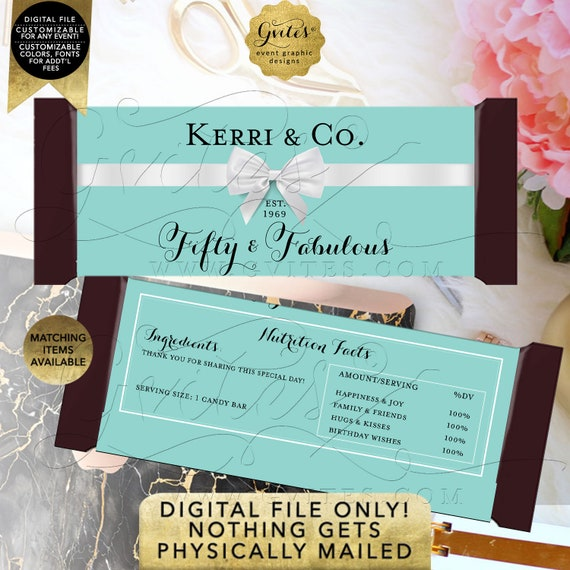 """Fifty & Fabulous Candy Bar Wrappers Birthday 