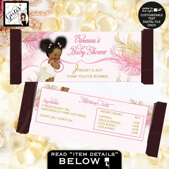 Princess Ballerina Candy Bar Labels/ Pink & Gold Baby Shower Chocolate Bar Party Favors Wrappers/ Vintage ethnic baby girl