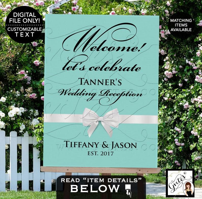 Audrey Hepburn Wedding Reception Signs Vintage Blue /& White PRINTABLE Sign Art