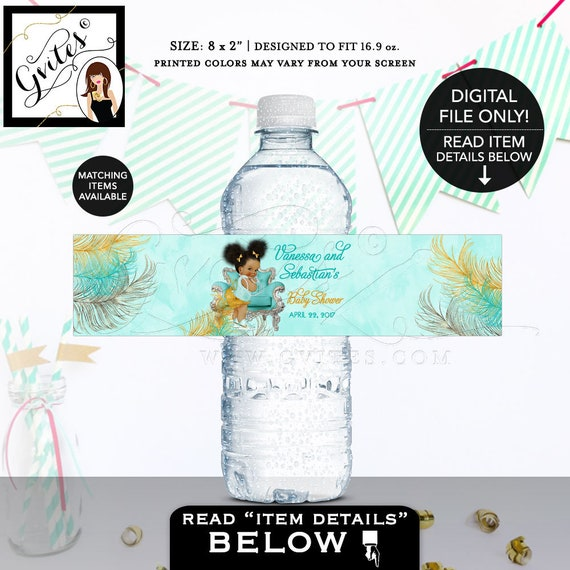 "Water Bottle Labels Turquoise Gold & Silver African American baby girl baby shower, bows diamonds pearls. {8x2""/5 Per Sheet} Gvites"