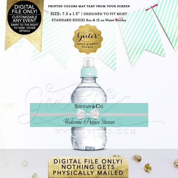 "Mini Water Bottle Labels Boy Baby Shower | Fits 8oz-12oz. Size: 7.5 x 1.5""/7 Per Sheet | By Gvites"