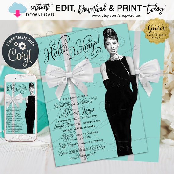 "Breakfast Blue Audrey Hepburn Theme Bridal Shower Invitation | 5x7"" Double Sided {Edit YOURSelf with Corjl} Instant Download."
