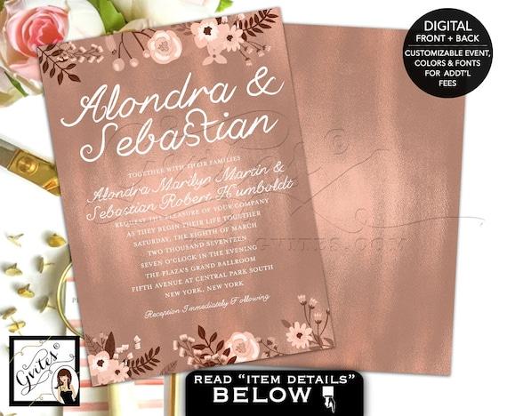 Rose Gold Wedding Invitation | Foil Elegant Bohemian Printable