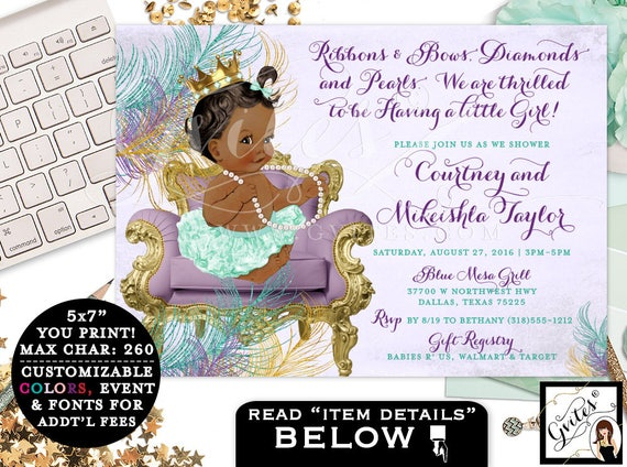 Baby Shower Purple Lavender Teal Mint Invitations. African American ribbons bows Diamonds pearls. Digital/ Printable/ JPG + PDF 7x5""