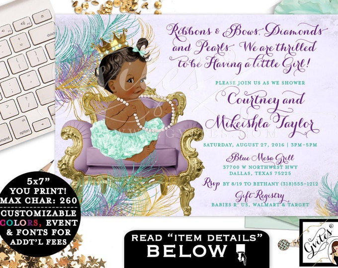 Baby shower invitation purple mint green gold, African American ribbons bows, diamonds pearls, lavender mint gold girl invites, 7x5 Gvites