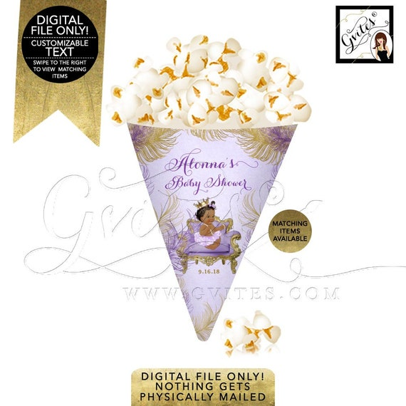 Snack Cones Baby Shower / PRINTABLE Popcorn Cone and Mini Wine Labels / African American Princess Party  / Purple & Gold Wine Label Design