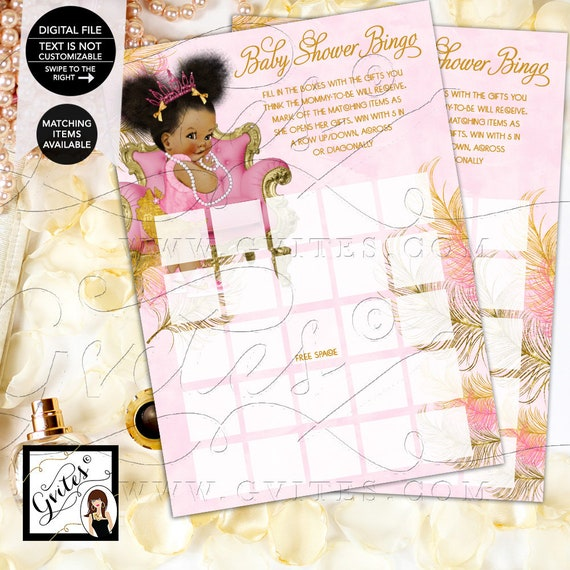 Bingo Cards Pink Gold Baby Shower Printable, Tiaras Diamonds Pearls INSTANT DOWNLOAD {Design: TIACH-110} By Gvites