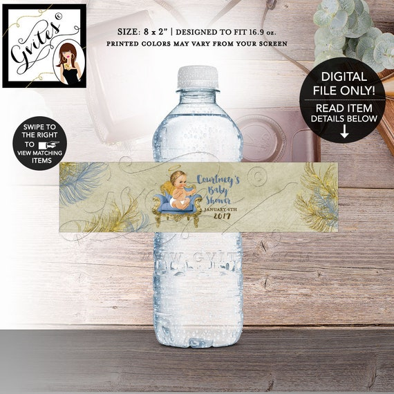 "Heaven Sent Baby Shower Water Bottle Labels, Printable, Angel Baby Boy, Blue Beige Gold, DIY, Digital File! 8x2"" 5 Per Sheet, Gvites."