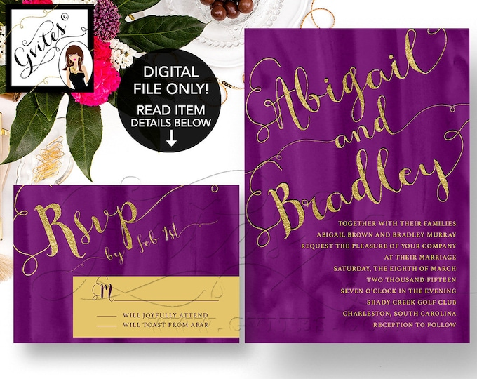 Purple & gold wedding invitation, gold purple invitations, glitter modern printable, watercolor invites elegant, plum, digital download.