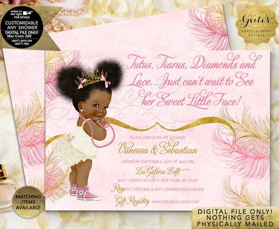 Pink Gold Baby Shower Invitations/ Princess African American Tutus Tiaras diamonds pearls/ 3 Skin Tones/ Ethnic Baby Invitations