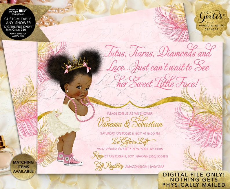 b190a0356 Pink Gold Baby Shower Invitations / Princess African American | Etsy