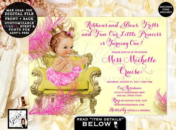Yellow Pink Gold Birthday Invitations