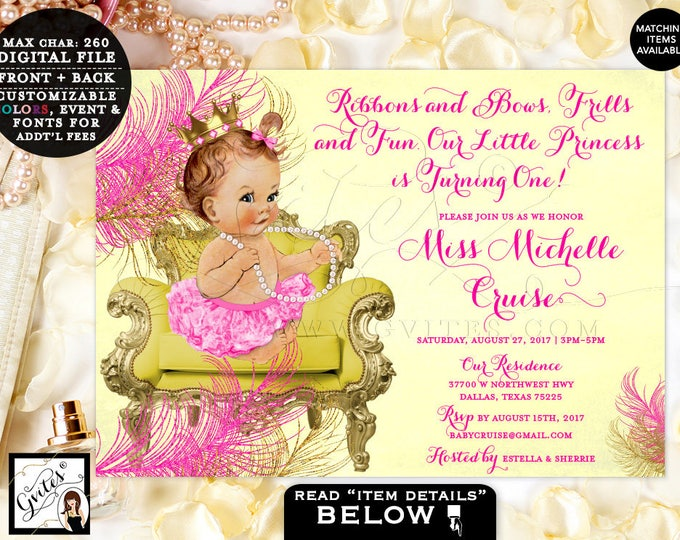 "Ribbons and Bows First Birthday Invitations Pink Yellow and Gold, Princess Baby Invites, Vintage Birthday Baby Girl, 7x5"" Gvites."