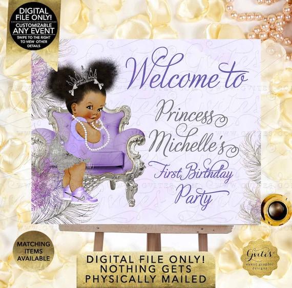 Purple Silver Welcome Birthday Printable Digital File | JPG + PDF | By Gvites