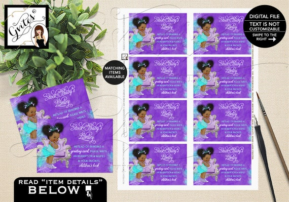 "Baby Shower Book Request Feather/ Babies Printable/ Insert/ Card/ Turquoise/ Princess/ African American Afro Puffs 3.5x2.5"" 8/ Sheet. Gvites"