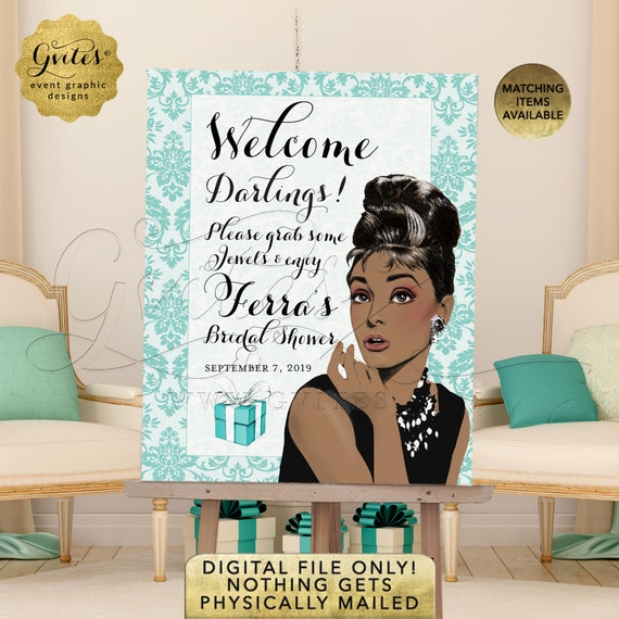Welcome Sign Grab some jewels/ Audrey Hepburn African American Damask Party Decorations/ Entrance Decor Bridal Shower Poster Printable