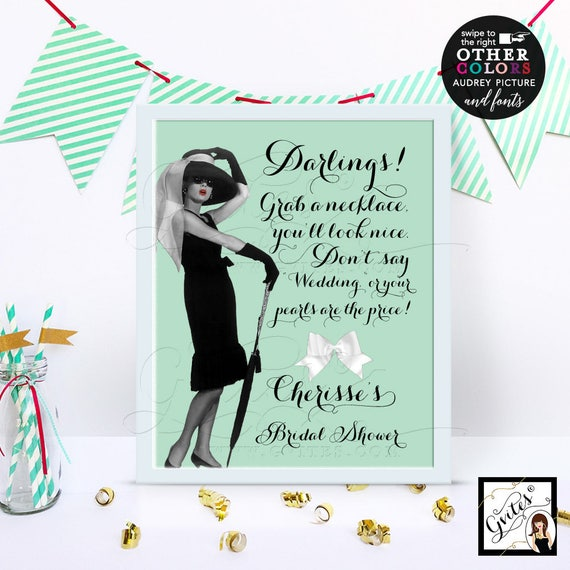 Bridal Shower Audrey Hepburn Pearl Necklace Game Sign - Mint Green, Digital File Only