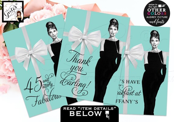Audrey Hepburn party signs/ bridal shower decorations/ Breakfast at printable sign thank you/ Set of 3 CUSTOMIZABLE {4x6 or 5x7}