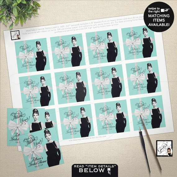 """Thank You Audrey Hepburn Gift Tags/Labels/Stickers/ Breakfast at co blue little black dress, Bridal Shower  2x2"""" 12/Per Sheet"""