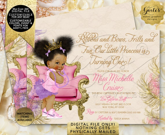 Cute Ethnic Baby Pink Purple & Gold Birthday Invitation | Afro Puffs Vintage | Printable Digital File | INSTANT Download JPG + PDF