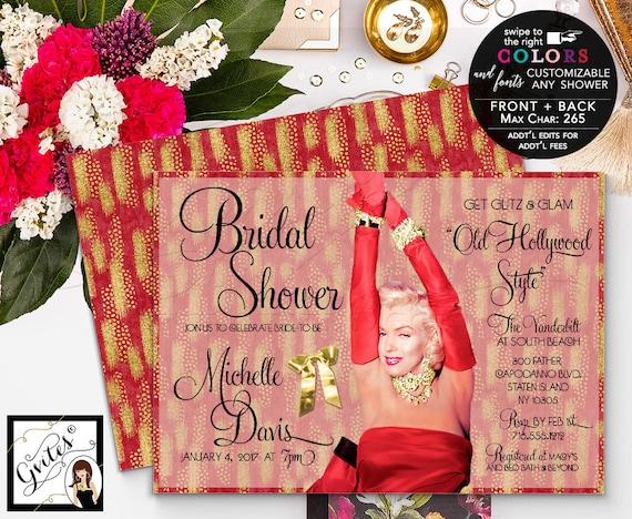 Marilyn Monroe Bridal Shower Invitation/ Red & gold Bridal Invitation /Old Hollywood style Party/ Wedding/ Lingerie