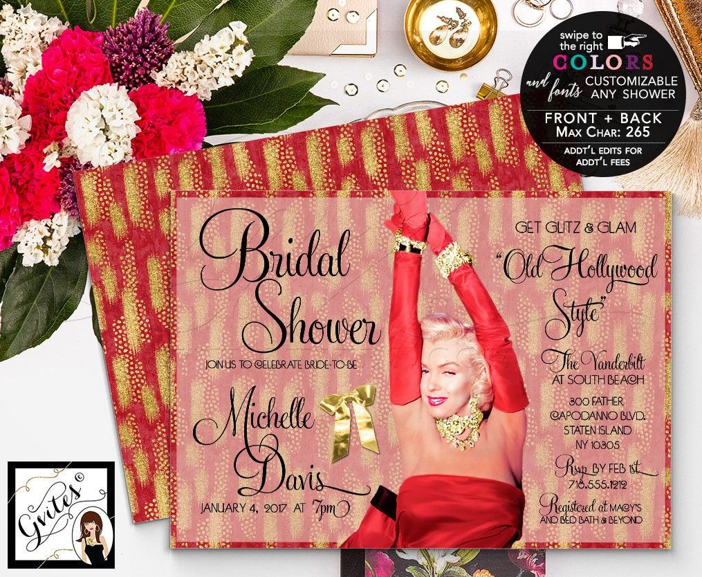 Holiday Bridal Shower Red and gold bridal shower invitation, Marilyn ...