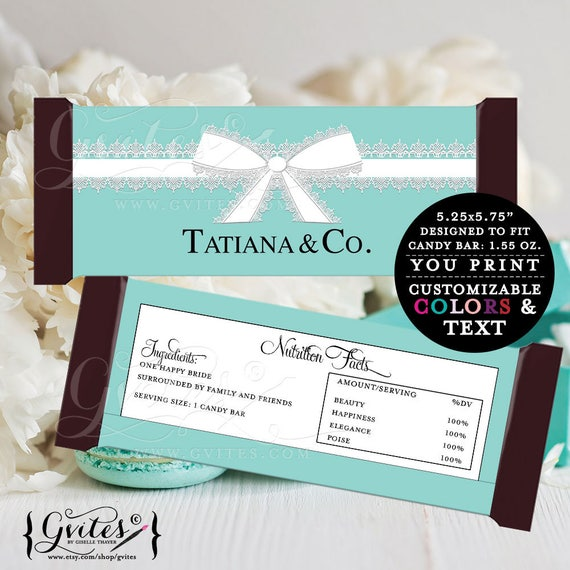 Customizable BRIDAL SHOWER Candy Wrappers/ Chocolate Bar Candy Labels/ Party favors gifts/ White bow Turquoise blue/ Candy Bar