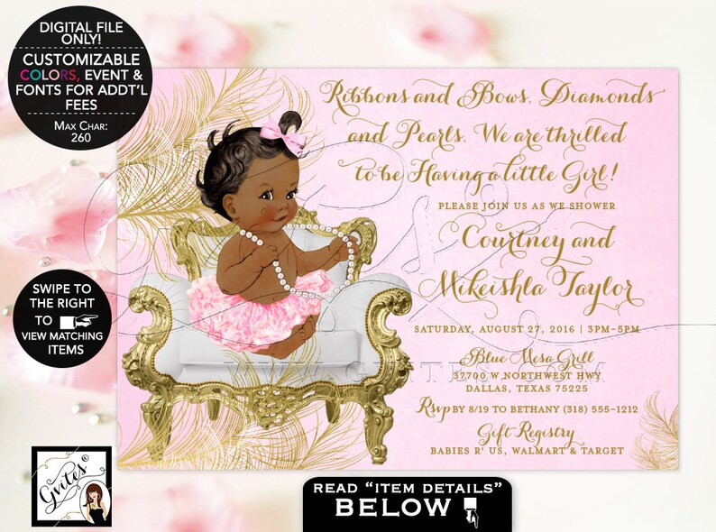 Pink and Gold Baby shower invitations African American Ribbons Bows Diamonds Pearls Vintage Invites {White Gold Feathers}