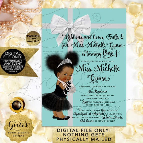 First Birthday Baby & Co Theme Breakfast Invitations with Bow | Audrey Hepburn Vintage Afro Puffs Girl | Printable JPG + PDF