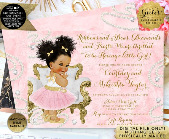 """Diamonds & Pearls Pink Baby Shower Invitation/White Gold African American Ballerina Printable/Ribbons Bows 7x5"""" Double Sided"""