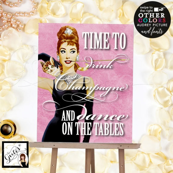 Customizable Audrey Poster Prints in Digital format | Time to drink champagne and dance on the tables