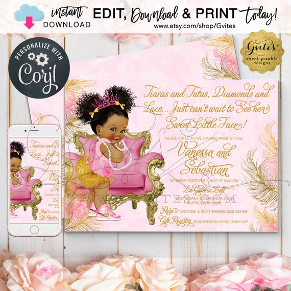 Pink Gold Baby Shower Invitations | Tutus Diamonds Lace | African American Princess. Dark Puffs Curly {Edit & Print Today w/Corjl}