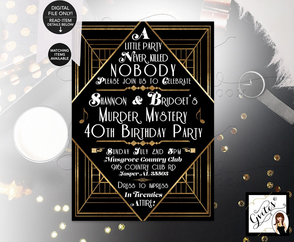 40th Birthday Party Great Gatsby Murder Mystery Themed Invitations 1920s Black And Gold Digital Printable DIY 5x7 Gvites