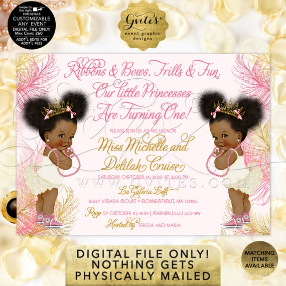 "Twins First Birthday Invitation Pink & Gold Baby | Princesses African American Afro Puffs Tiara | Ribbons Bows 1st invite 7x5"" Gvites"