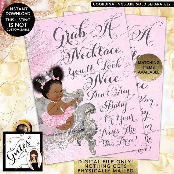"""Don't Say Baby Game Sign Pearl Necklace/ Princess Shower Printable Games/ Silver Pink/ African American INSTANT DOWNLOAD {Dark/ Puffs} 5x7"""""""