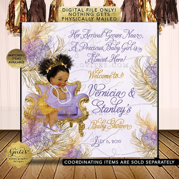 Lavender & Gold Backdrop/ Welcome Sign/Baby Shower/ Princess/ Ethnic Baby Girl/ African American/ Afro Puffs | Design: TIACH-103